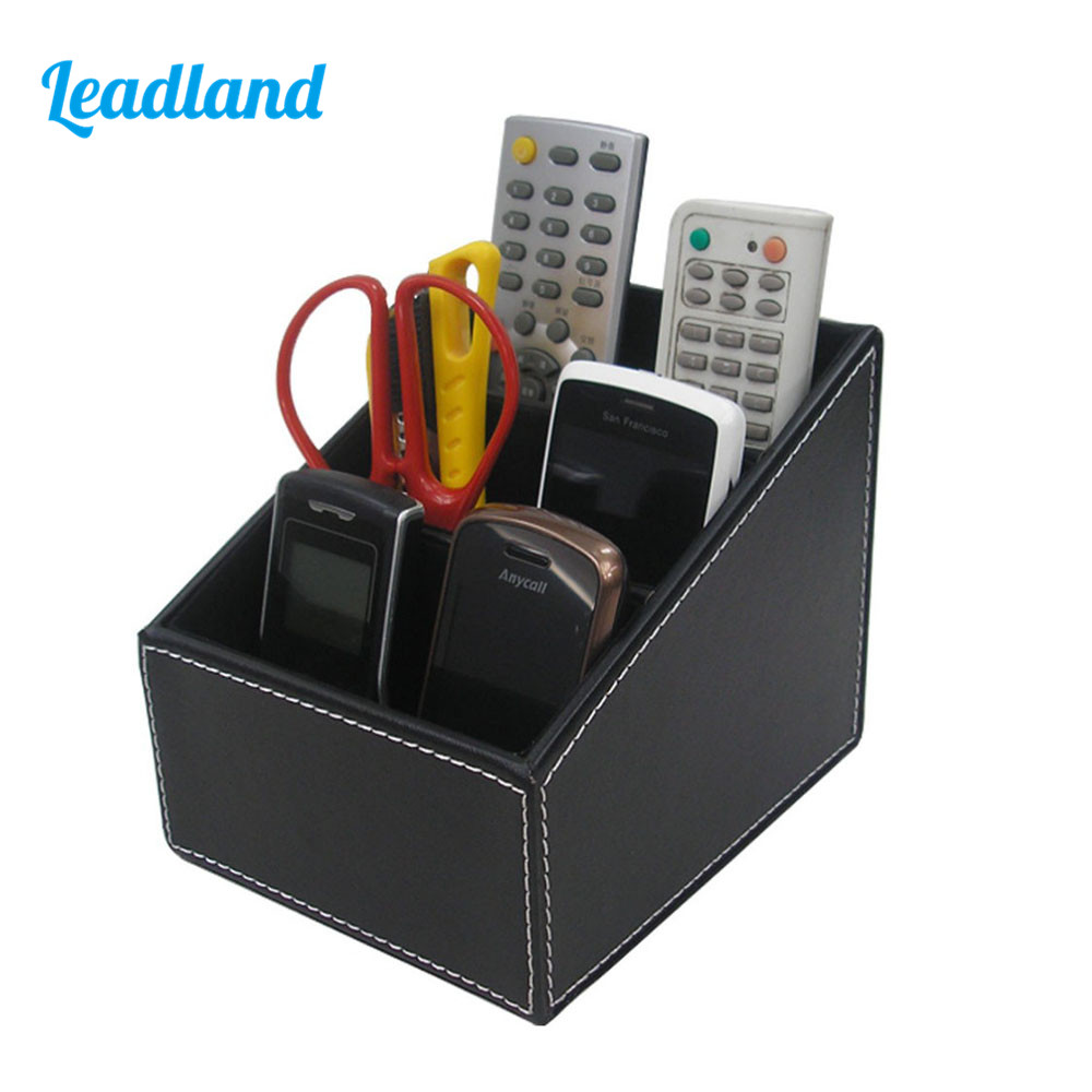Office PU Leather Pen Holder Storage Box Stationery Organizer Black sosw 3 in 1 card office pencil pen pot stationery storage box organizer storage organizer rose red