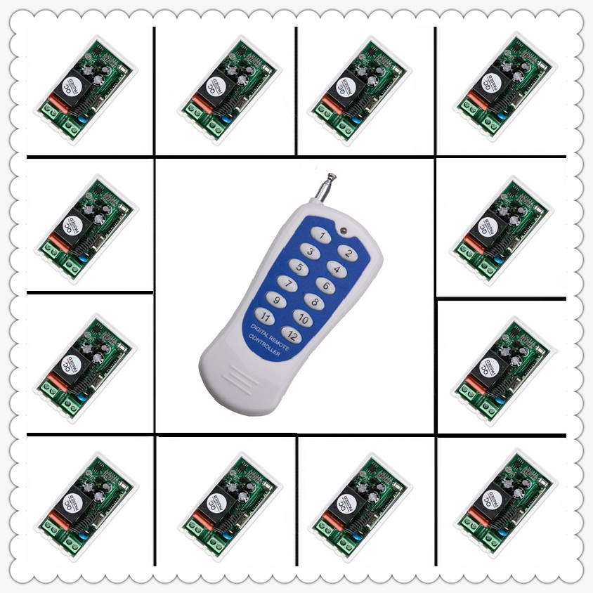 AC 220V 12CH 10A Relay Remote Switch Light Lamp LED Motor Machine RF Receiver Transmitter Wireless Switch 315/433MHZ ac 220v 1 ch 10a remote control switch relay receiver transmitter led lamp light remote on off wireless switch 315 433 rx tx
