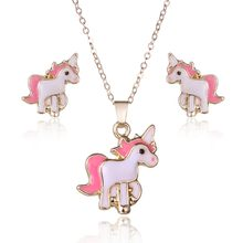 Lovely Children Cartoon Pink Horse Unicorn Earrings Necklace jewelry Set For Women Lady Party Costume Wedding Engagement Jewelry(China)