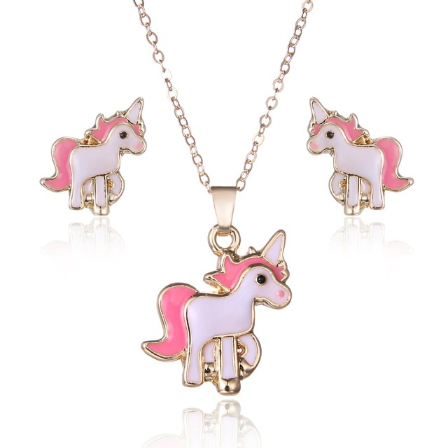 Lovely Children Cartoon Pink Horse Unicorn Earrings Necklace jewelry Set For Women Lady Party Costume Wedding Engagement Jewelry