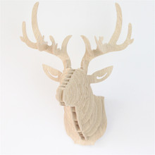 Wooden Elk 3D Puzzle DIY Model Wall Hanging Deer Head Creative Animal Wildlife Sculpture Figurines Gift Crafts Nordic Decor