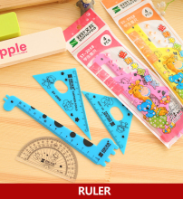 3 sets / lot , Cartoon Giraffe Ruler Set Straight Triangular Proractor for School Students
