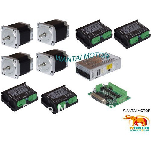 Promotion of Wantai !!! Ship from Germany, High Quality 4Axis Nema 34 Stepper Motor with 1090OZ-In &Control CNC 4axis nema 34 1230oz in 5 0a stepper motor