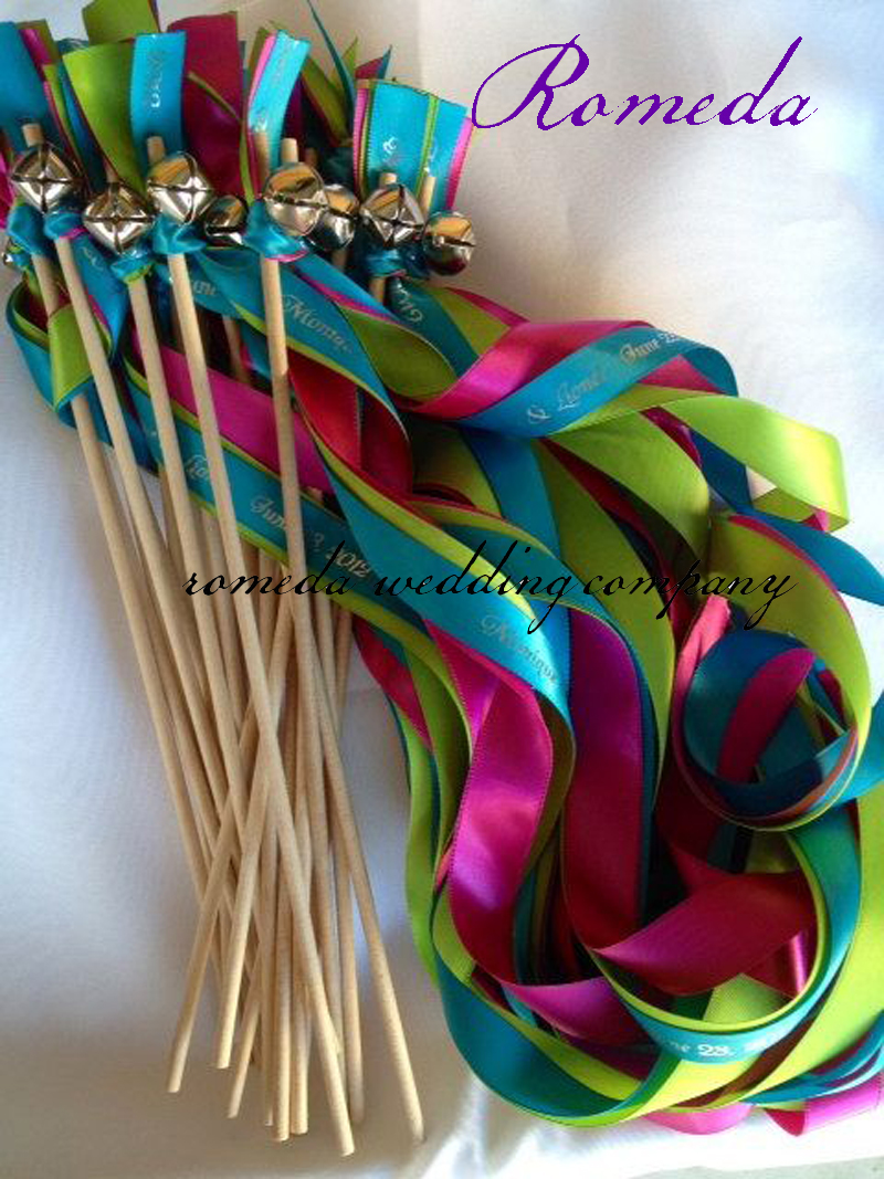 Customized Wedding Ribbon Stick Ribbon Wands Twirling Streamers With Gold Bell