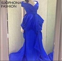 Élégant Custom made V Cou bleu Royal robe de Soirée 2018 arabie Arabe de Soirée goens Plus taille Robe de festa Réel image