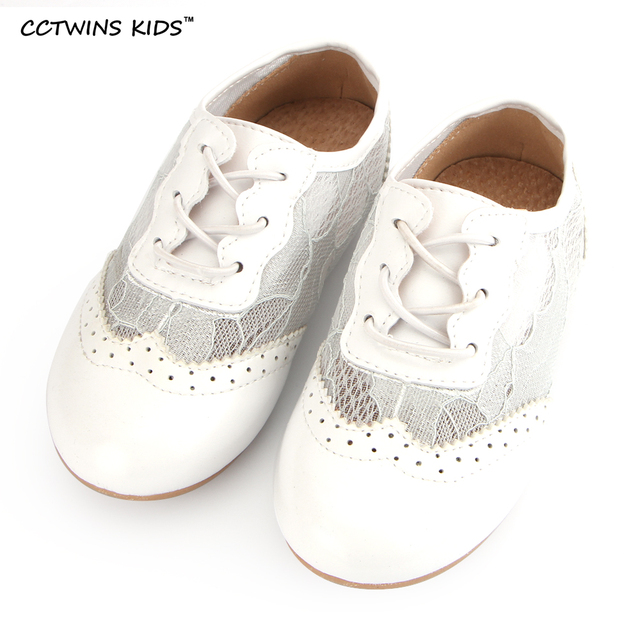 CCTWINS KIDS spring autumn children fashion breathable casual shoe for baby girl brand lace slip-on toddler pink flats white