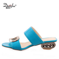 Daitifen Hottest Summer Low Chunky Heel Women Slippers Stylish Square Crystal Buckle Soft Open Toe Solid