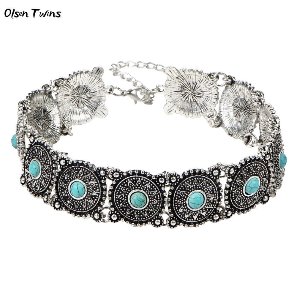 Olsen Twins Antique Vintage Silver Blue Stone Square Chunky Boho Choker Necklaces Jewelry Wholesale