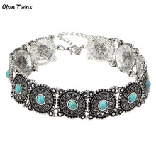 цена Olsen Twins Antique Vintage Silver Blue Stone Square Chunky Boho Choker Necklaces Jewelry Wholesale онлайн в 2017 году