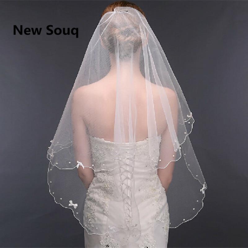 Simple Short Pearl Beaded Wedding Veils voile mariage Bridal Veil Wedding Accessories velo de novia