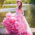 Nuvem Da Menina de Flor para Casamentos 2016 Vestidos Rosa vestido de Baile Adorável Lace Meninas Vestidos Pageant Frisada Primeira Comunhão Vestido Barato