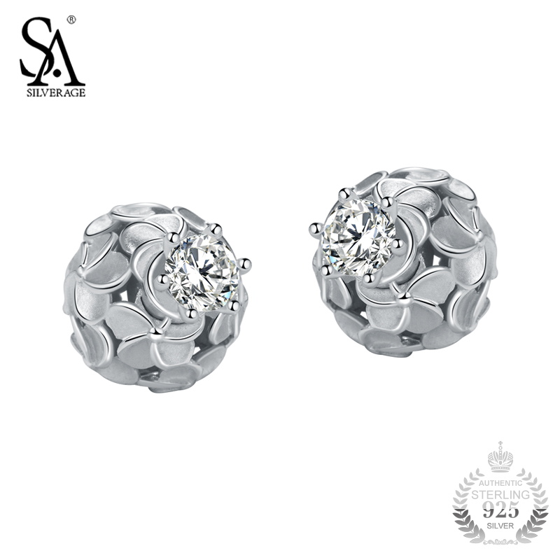 SA SILVERAG Silver Ball Earrings For Women Hollow Petal Flower Stud Earrings With CZ 925 Silver Jewelry Female 2018 Girl Gift pair of chic double end faux crystal flower ball stud earrings for women