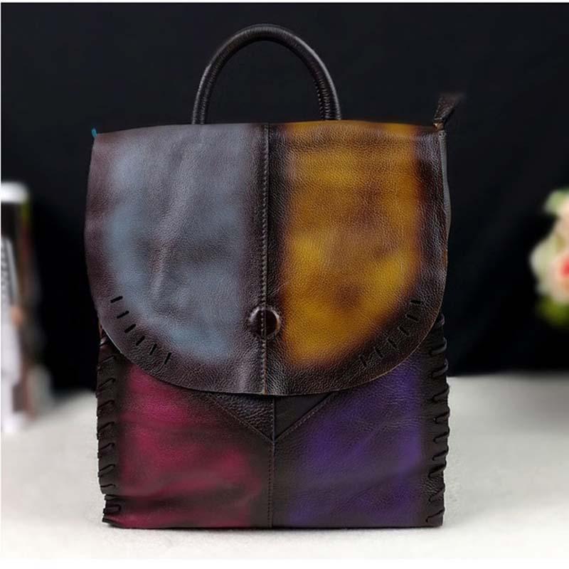2018 nouveau simple casual vachette daim sac rétro couleur à la main en cuir sac à dos femmes sac à dos