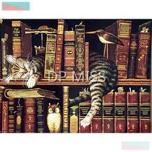 5D DIY Full Square Diamond Painting Cross Stitch Cat In The Bookshelf 3D Embroidery Mosaic Rhinestone Home