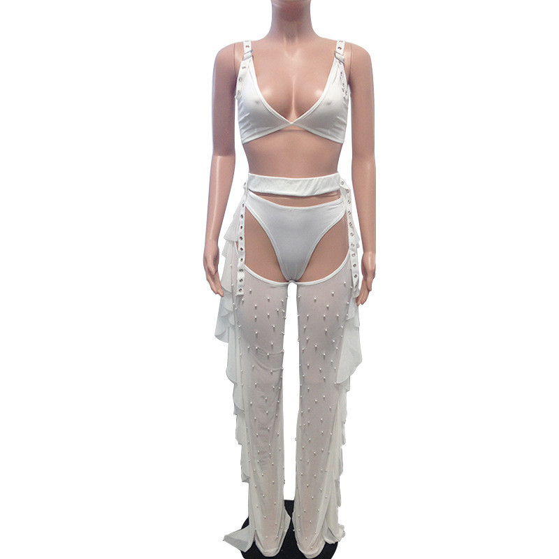 Adogirl Sexy 3 Piece Set Bra Top Thongs Pearls Ruffle Sheer Mesh Pants Night Club Outfits Fashion Bikini Trousers Suit 3 Colors