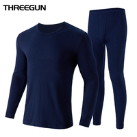 THREEGUN 100% Cotton Winter Men's O Neck Warm Long Johns Set Ultra Soft Thermal Underwear termica Undershirt merino Pants Pajama