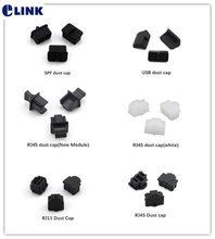 Tampa de poeira rj11 rj45 spf usb, capa de proteção contra poeira/plug elink preto e branco, 100 peças