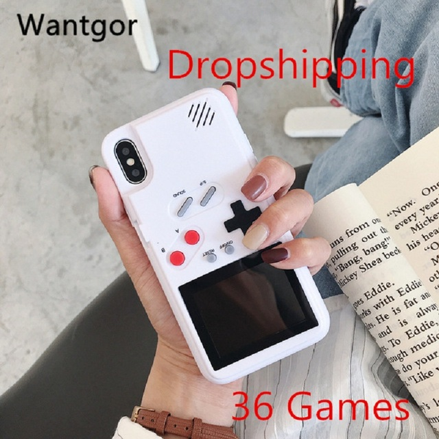 Retro Full Color Display Game phone Case for iPhone 6 7 8 Plus TPU Frame gameboy coque for iPhone X Xs Max Xr Funda Capa