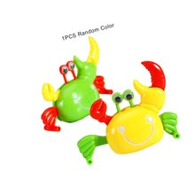 Cute Cartoon Wind-Up Crab Walking Toy Collectible Animal Kids Children Baby Clockwork Toys For Children Gift iwish halloween wind up green ghost goblin zombies jump vampire winding walking frankenstein jumping kids toys all saints day