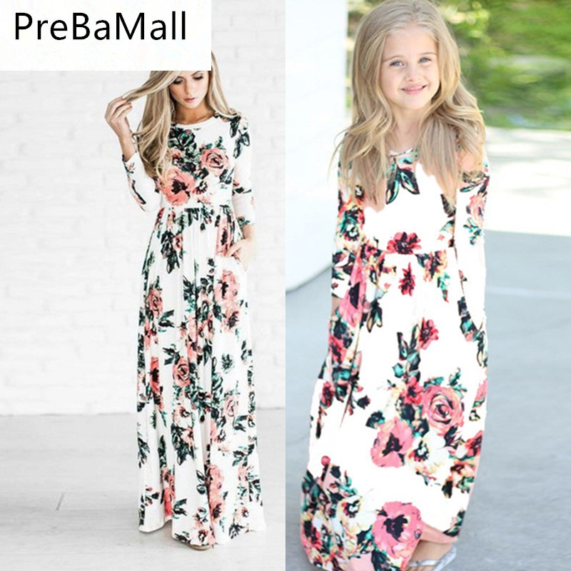 Mother Daughter Dresses Floral Matching Mom Girls Long Dress Family Look Sleeve Clothes Outfits C55