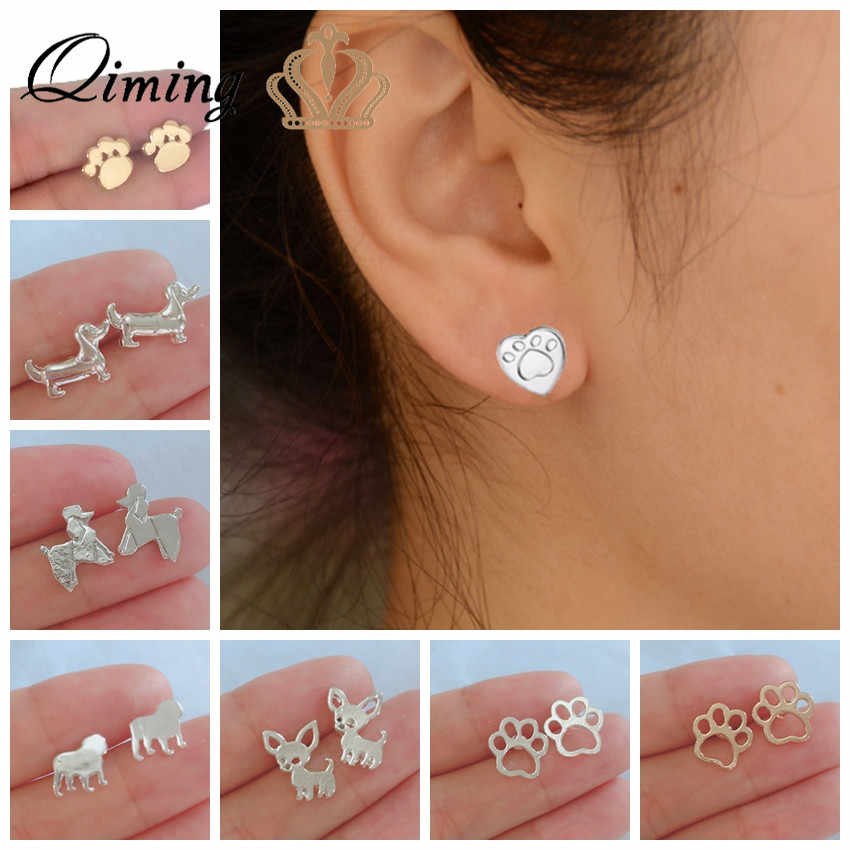 QIMING Gold Lovely Paw Dog Earrings Children Kids Jewelry Pet Lover Chihuahua Poodle Bulldog Charm Dropshipping Stud Earring