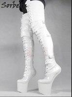 Sorbern женские сапоги на очень высоком каблуке Фетиш Heelless Лошадь Жеребец копыта подошва выше колена промежность бедра высокие сапоги белый пл