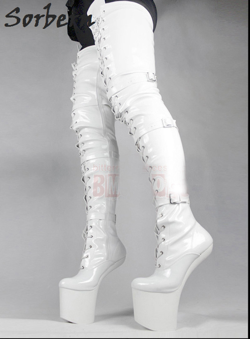 Sorbern Woman Boots Extreme High Heel Fetish Heelless Horse Stallion Hoof Sole Over The Knee Crotch Thigh High Boots White Plus jialuowei 20cm high heel 5cm platform fetish sexy knee high cross tied heelless wedge horse ponying stallion hoof sole boots
