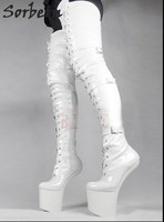 Sorbern Woman Boots Extreme High Heel Fetish Heelless Horse Stallion Hoof Sole Over The Knee Crotch Thigh High Boots White Plus