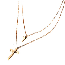 цена 2017 Stainless Steel Christ Cross Pendant Necklaces For Women Double Chain Chokers Rose Gold Color Necklaces Jewelry Accessories