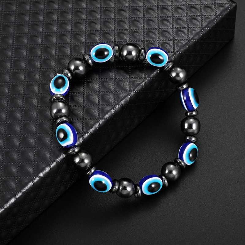 Магнитный браслет синий злой глаз терапия с помощью гематита забота о здоровье браслет унисекс