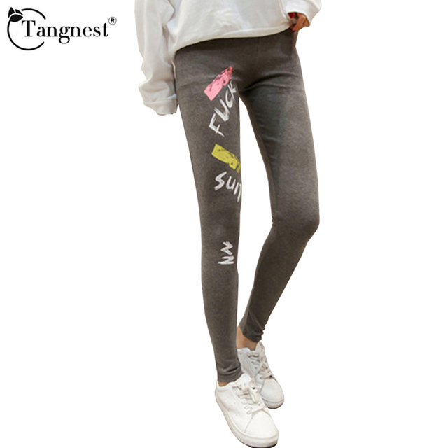 TANGNEST Winter Letter Pants Elastic Winter Ankle-Length 2016 Solid Color Fitness Mid Women Fashion Leggings WSS410