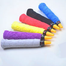 Hot 1 Piece Cotton Towel Sweat Band Tennis / Badminton Grip Tape Thicken Anti-slip Racket Overgrips Racquet Over Grip Sweatband(China)