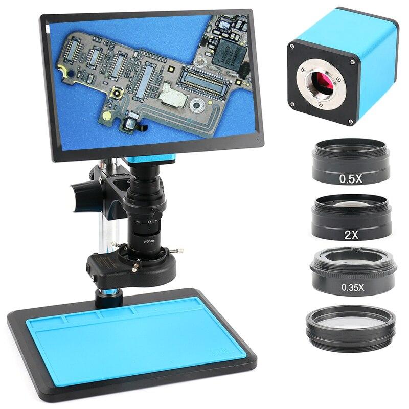 2019 Atualização Autofocus SONY IMX290 HDMI TF Vídeo Indústria Microscópio de Foco Automático Da Câmera + 200X C Montagem de Lente + 11.6