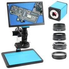 """2020 قياس ضبط تلقائي للصورة SONY IMX290 HDMI U Disk فيديو لصناعة التركيز التلقائي مجهر كاميرا + 200X C عدسة جبل + 11.6 """"مراقب"""