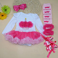 4PCs per Set Baby Girl Cupcake Tutu Dress Infant 1st Birthday Party Outfit Leg Warmers Shoes Headband