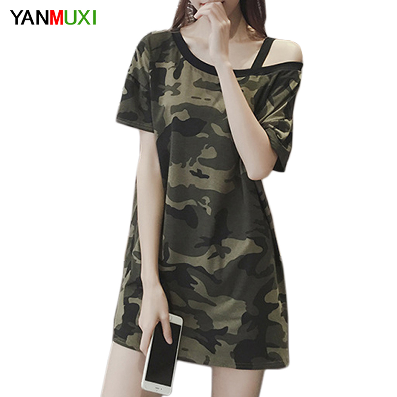 Sexy Off Shoulder Summer T Shirt Women 2017 Short Sleeve Armygreen Top Loose Long Ladies T-shirt
