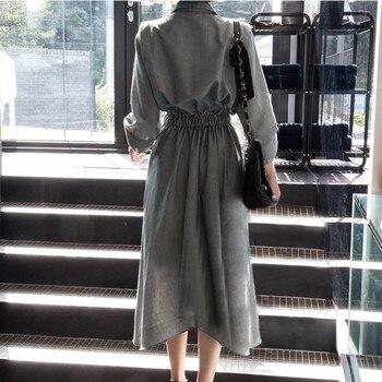 Lapel Three Quarter Sleeve High Waist Dress 1