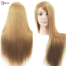 Hot Sale 26inch Hairdresser Mannequin Head Salon Hairstyles Training Doll Head With Blonde Hair Manikin Styling Dummy Doll Head