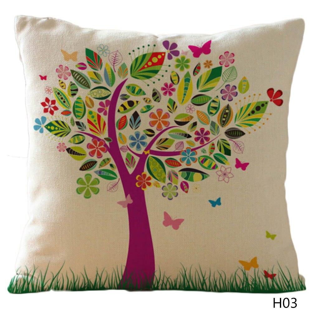 Cushion Cover Flower Pillow Case Cotton Linen Girl Floral Tree Bird Back Home Decorative Throw Pillow Cover
