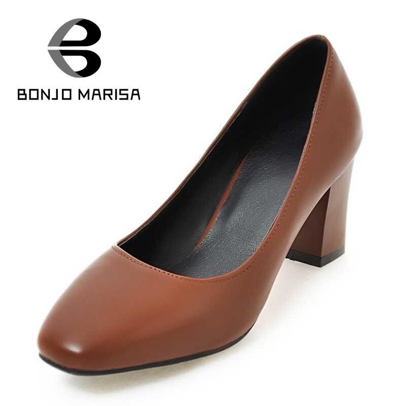 ФОТО BONJOMARISA Big Size 33-43 Women Pumps Sexy Square High Heels Less Platform Shoes For Woman 2017 Office Ladies Footwear