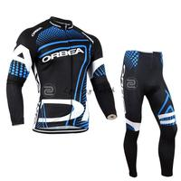 3D Silicone Orbea 2014 Team Winter Thermal Fleeced Clothes Long Cycling Jersey Pants Bicycle Set Breathable