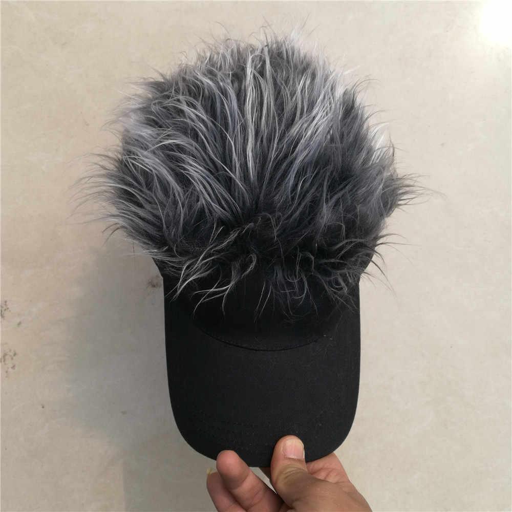 acc4c215 ... wholesale custom Adjustable fashion party fans black flair hair visor  vig baseball caps FAKE hair hat