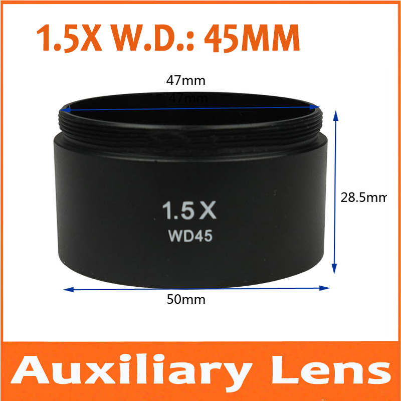 Objetiva do Microscópio Magfnication Auxiliar Anexo Lente Estéreo Microscópio Acessórios Acessório 45 M48 * 0.75 W.d = mm 10 Pcs 1.5x