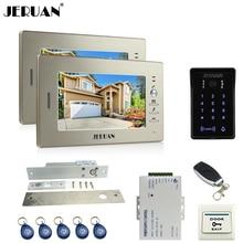 "JERUAN luxury 7"" LCD video doorphone intercom system 2 monitor RFID waterproof Touch Key password keypad camera+remote control"