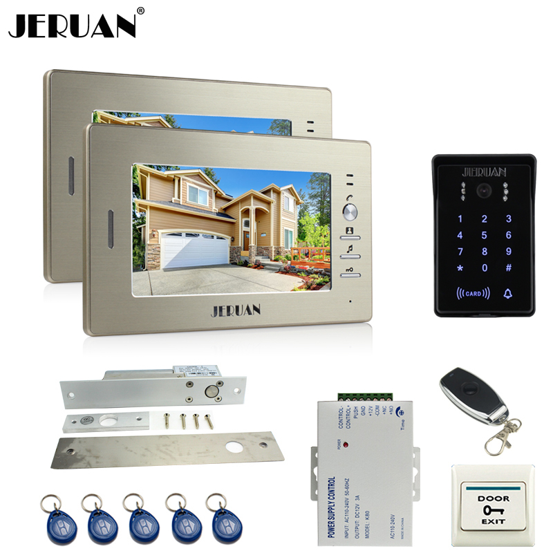 JERUAN luxury 7`` LCD video doorphone intercom system 2 monitor RFID waterproof Touch Key password keypad camera+remote control rfid keyboard ip65 waterproof video doorphone intercom system for 3 apartments with 7 color lcd video intercom system in stock