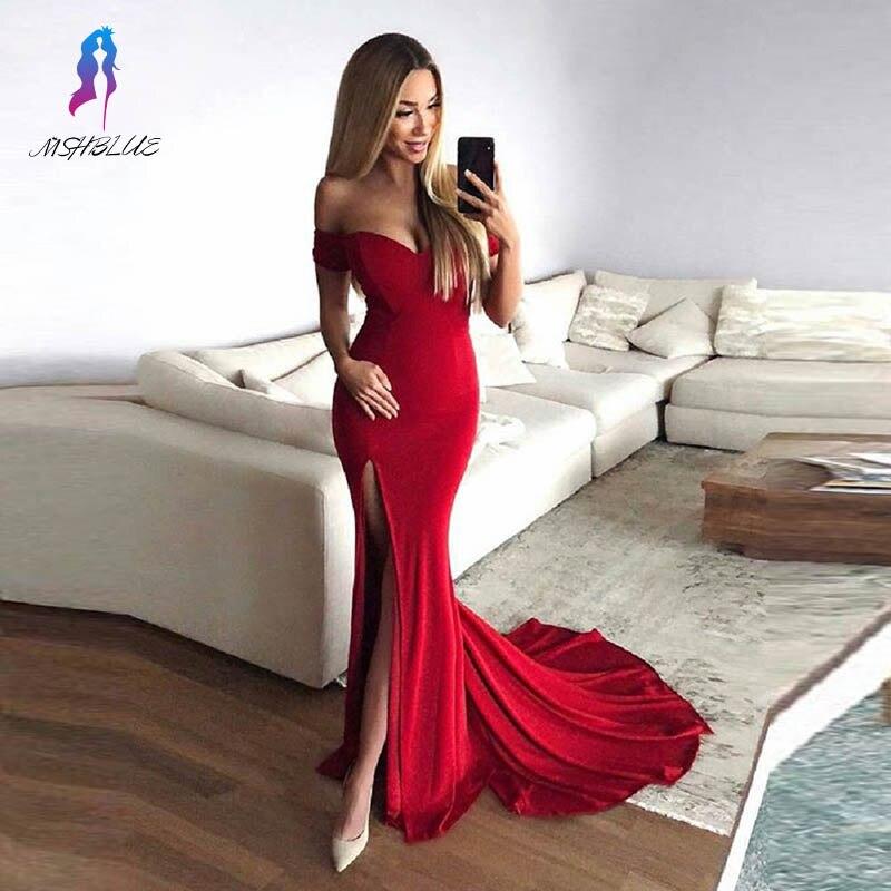 Off the Shoulder Red Long Prom Dresses Knitting Formal Women Gowns Vestidos MSHBLUE 2019