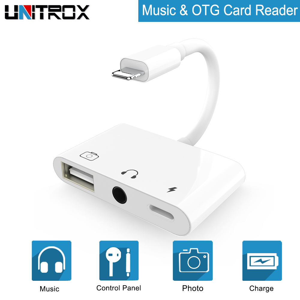 2019 OTG Adapter For Lightning To USB 3 Camera Reader With 3.5mm Headphone Jack Connection Kits Data Sync For IPhone X/XR/XS/8/7