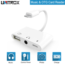 OTG Adapter for Lightning to USB 3 Camera Connection kits With Charge Port and 3.5mm Earphone Jack iPhone X/XR/XS/8P/7P/8/7
