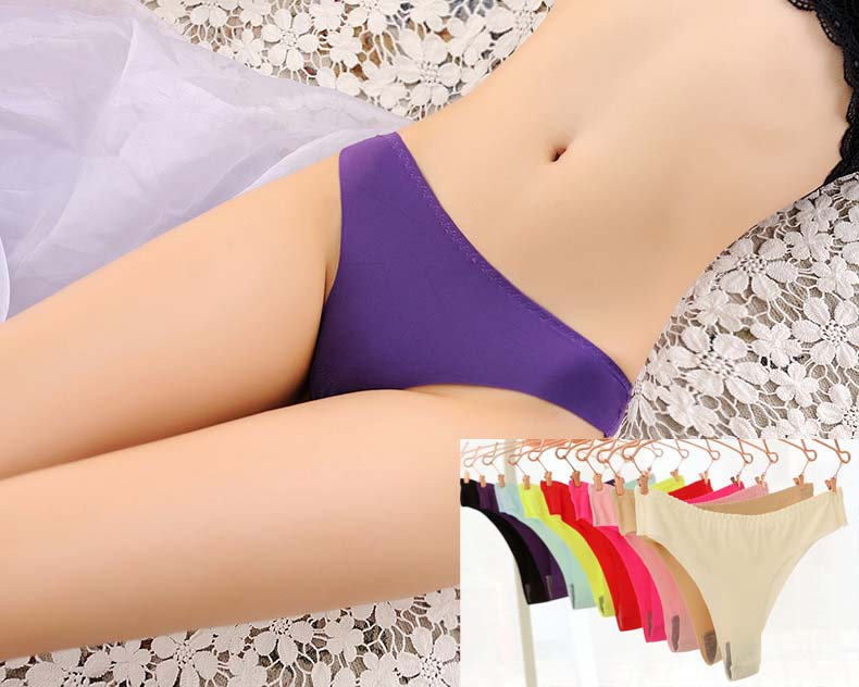 1 Pieces Sexy Hot Seamless Women Thongs And G Strings Solid Sexy Women Briefs 9 Colors Slim Women Panties And Underwear in women 39 s panties from Underwear amp Sleepwears