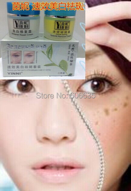 New YINNI Green tea anti freckle skin care whitening cream for face 2 in1 remove pigment in 10 days Russia Version